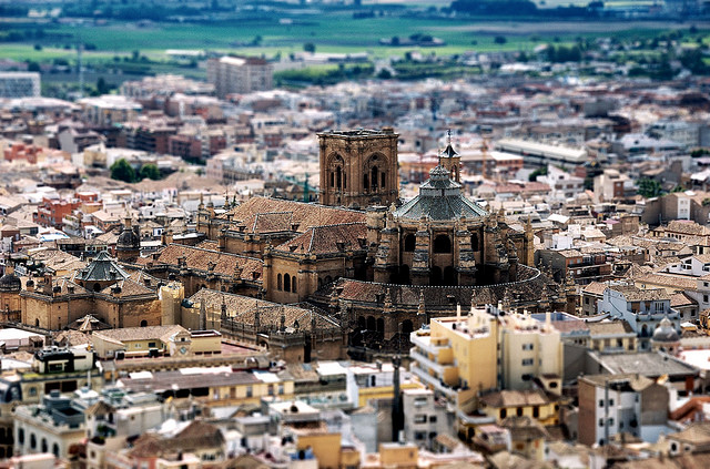 Catedral de Granada vista con la técnica tilt-shift