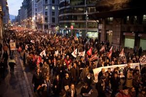 Imagen de una manifestación contra los recortes en educación de Barcelona