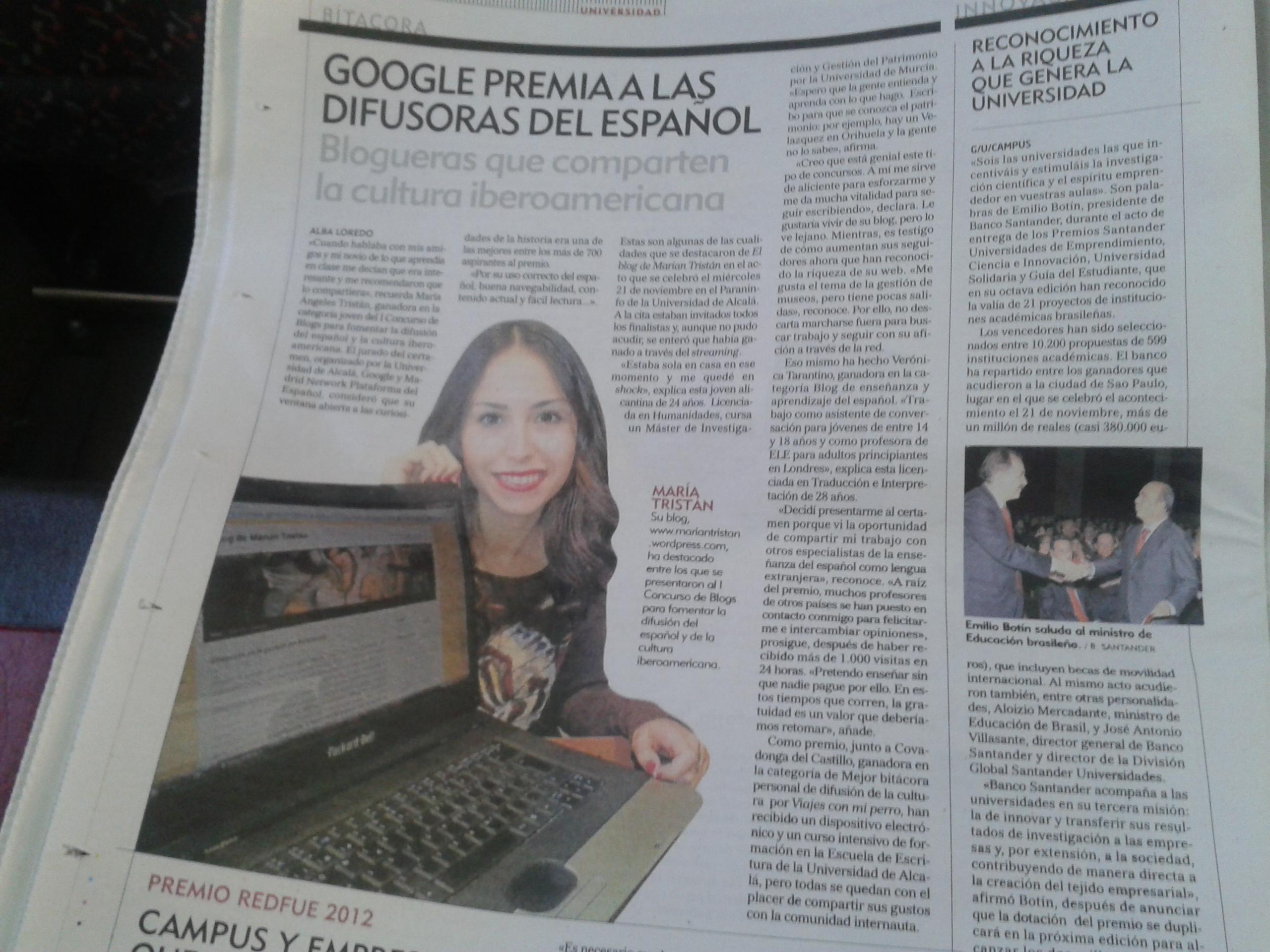 Marian Tristán, la mejor bloguera joven según Google